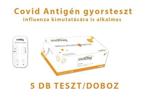 VivaDiagTM SARS-CoV-2/Flu A/Flu B 3 az 1-ben Antigén gyorsteszt 5db - A/B Influenza és Covid vírus teszt